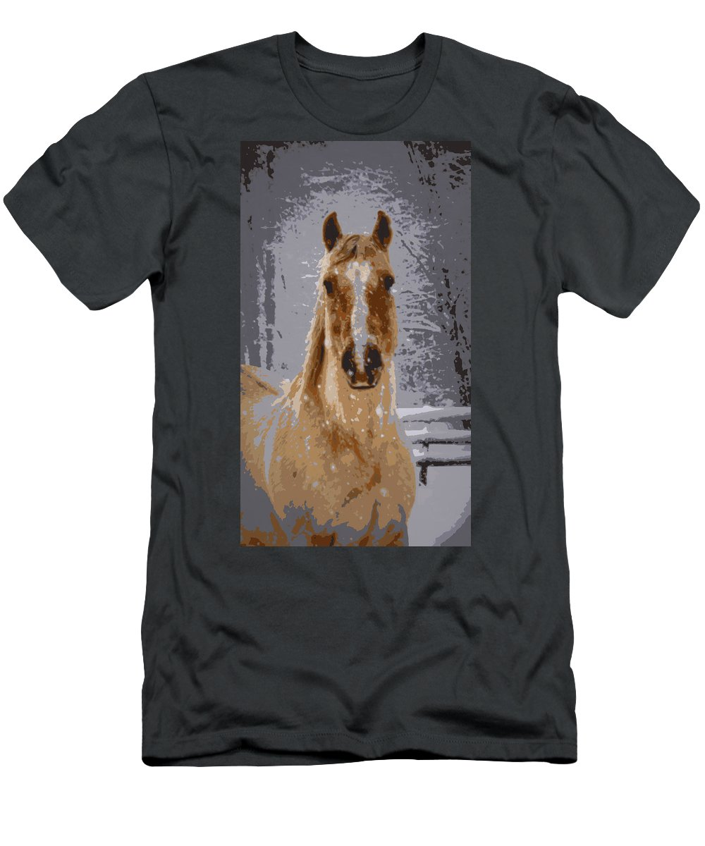 Horse Men's T-Shirt (Athletic Fit) featuring the photograph Palomino In The Snow by Tina Meador
