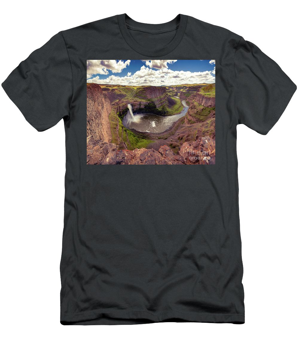 Men's T-Shirt (Athletic Fit) featuring the photograph Palouse Falls by Marcia Darby
