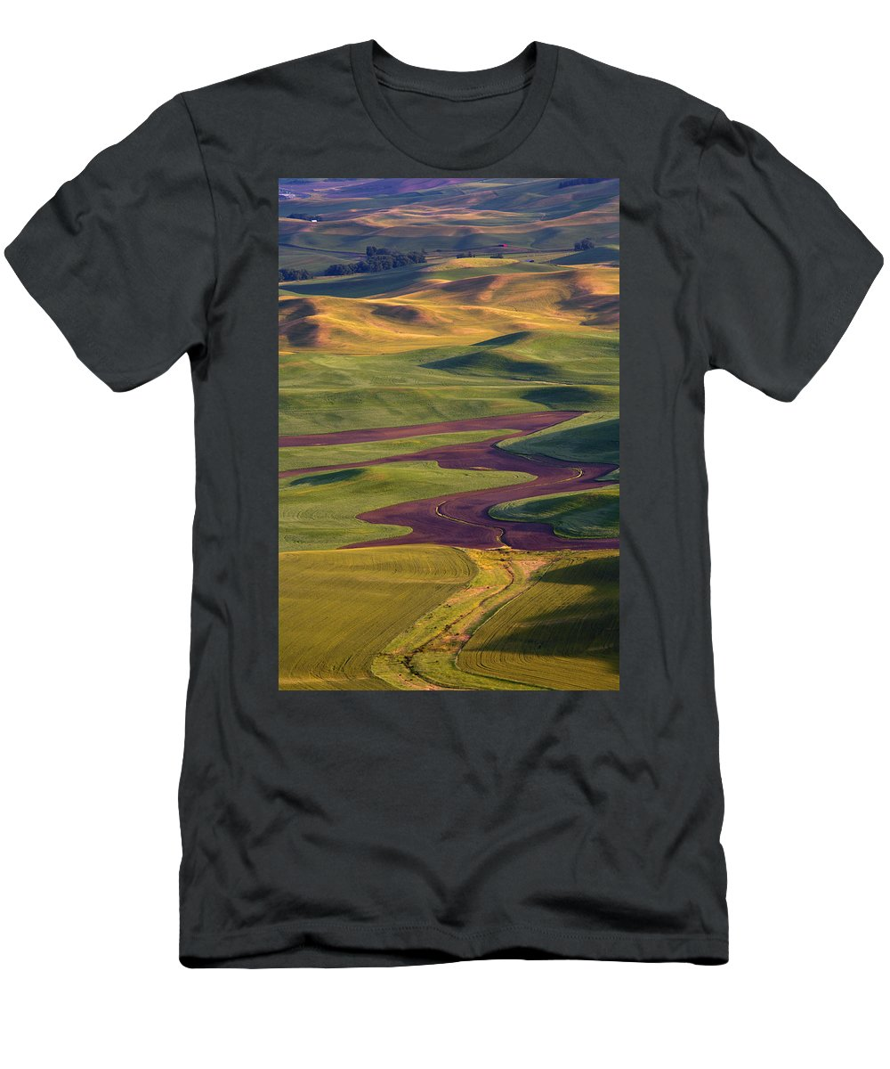 Palouse; Hills Men's T-Shirt (Athletic Fit) featuring the photograph Palouse Hills by Mike Dawson
