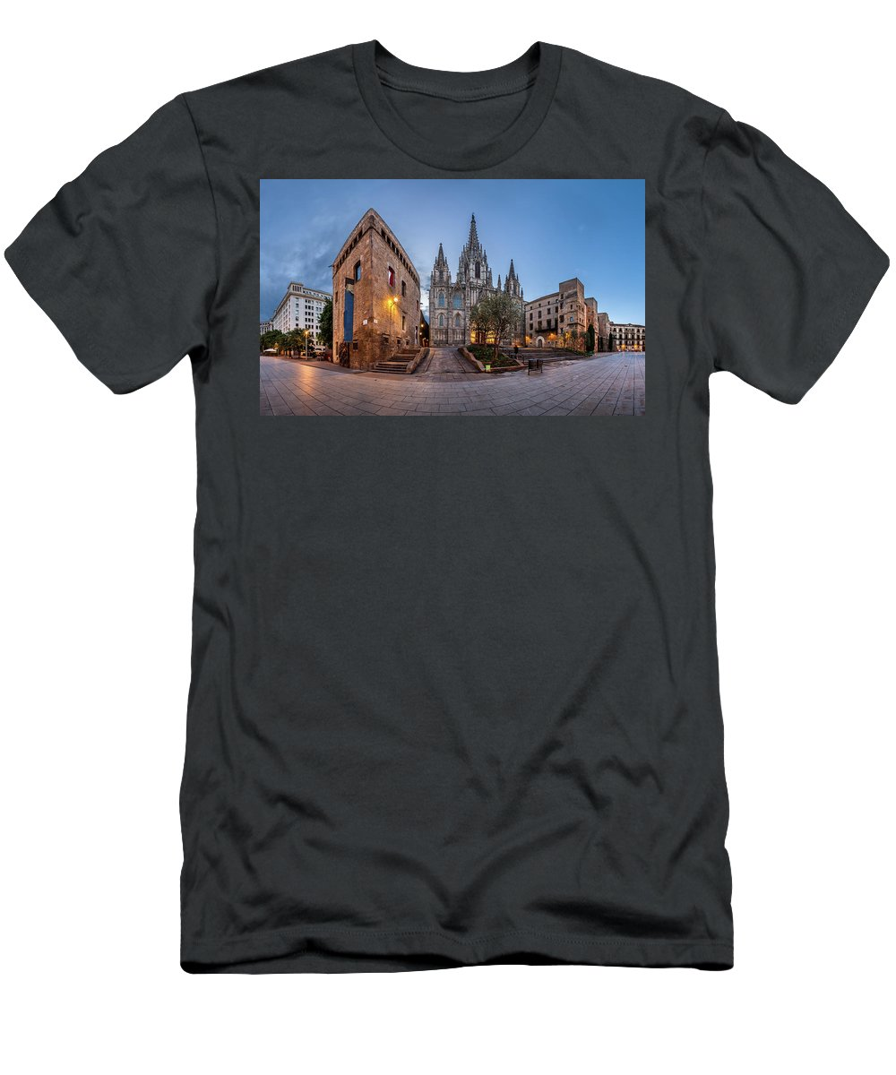 Ancient Men's T-Shirt (Athletic Fit) featuring the photograph Panorama Of Cathedral Of The Holy Cross And Saint Eulalia In The by Andrey Omelyanchuk