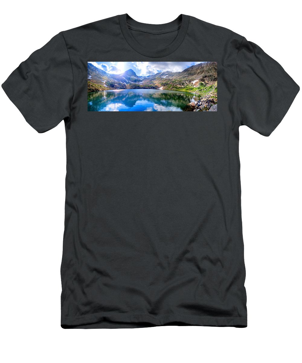 Lake Men's T-Shirt (Athletic Fit) featuring the photograph Panoramic Blue Lake by James O Thompson