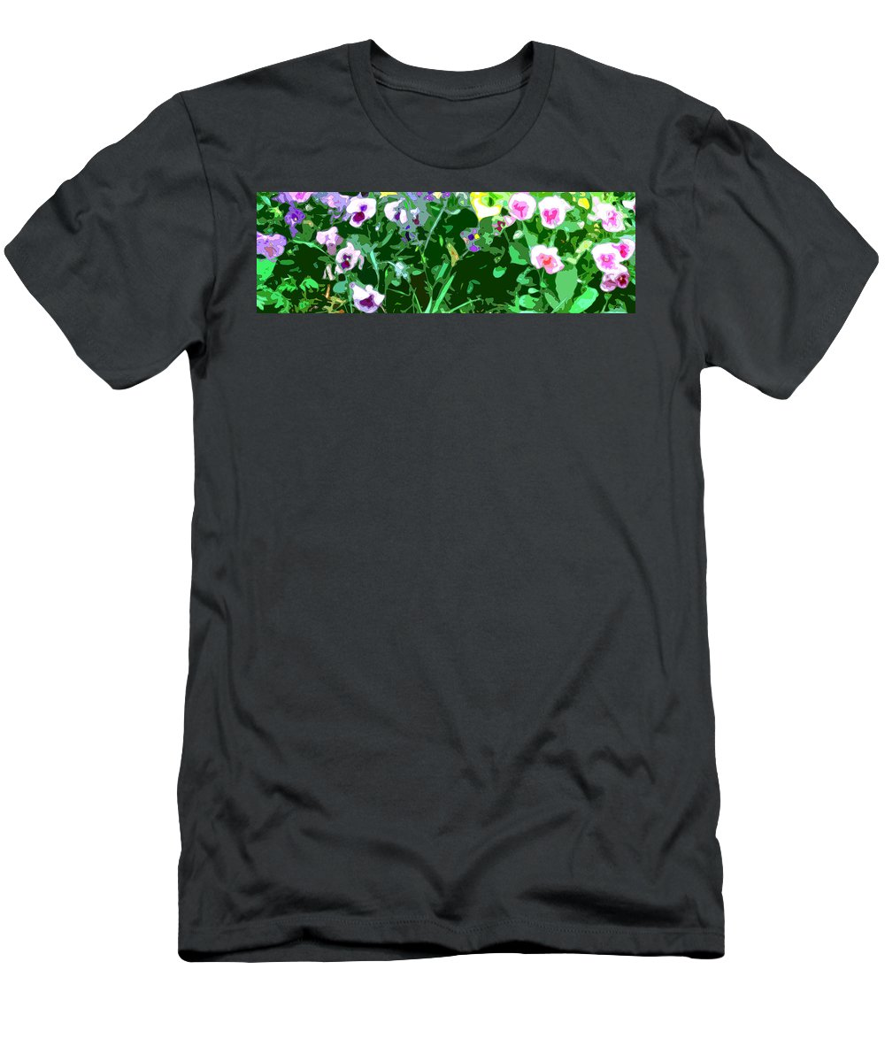 Abstract T-Shirt featuring the digital art Pansy Flower Garden by Linda Mears