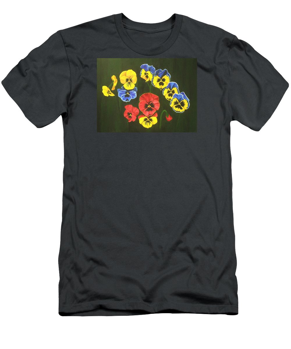 Pansy Flowers T-Shirt featuring the painting Pansy Lions Too by Brandy House