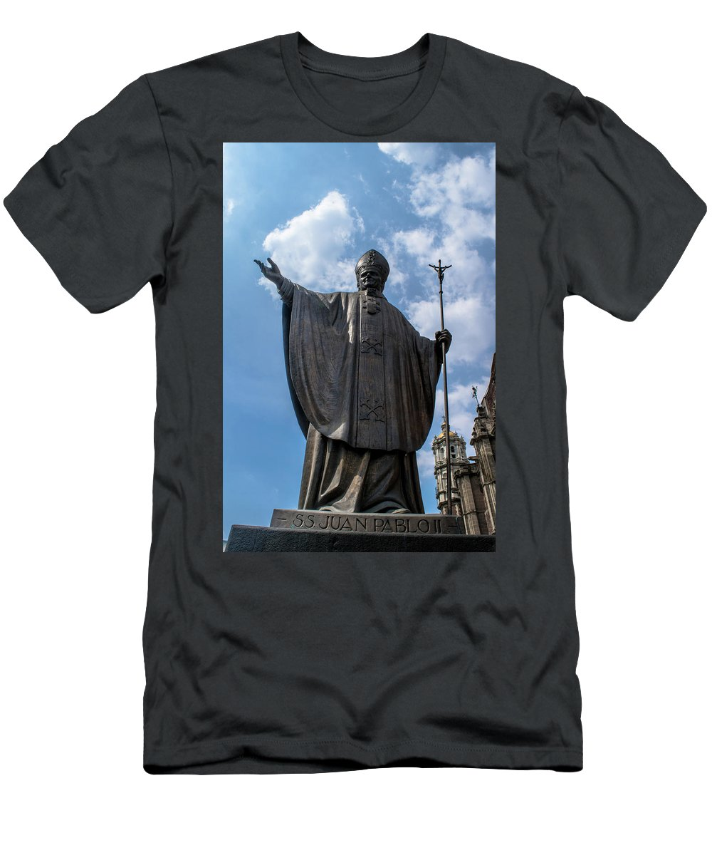 Basilica De Guadalupe Men's T-Shirt (Athletic Fit) featuring the photograph Papa Juan Pablo II - Mexico City II by Totto Ponce