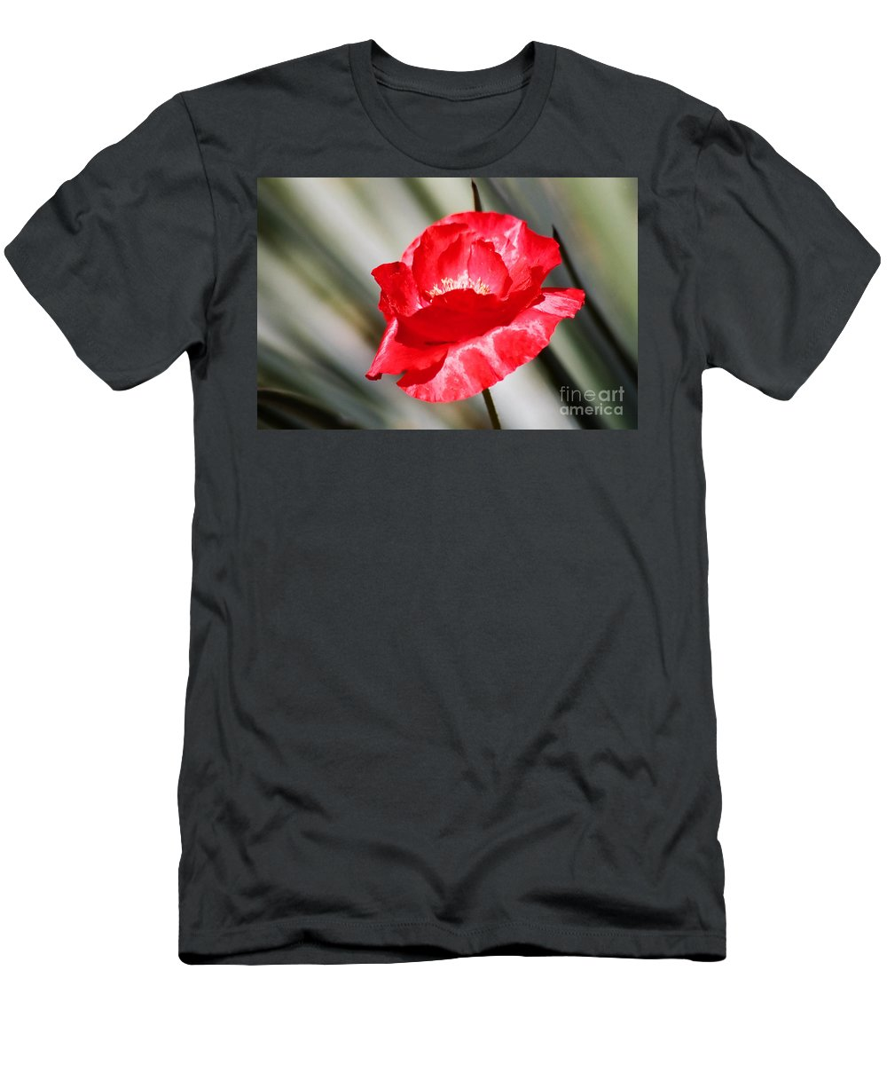 Poppies Men's T-Shirt (Athletic Fit) featuring the photograph Paper Flower II by Kathy McClure
