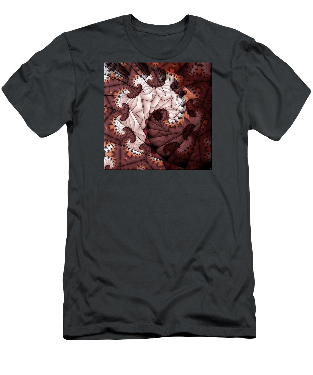 Abstract Men's T-Shirt (Athletic Fit) featuring the digital art Paper Spiral by Ron Bissett