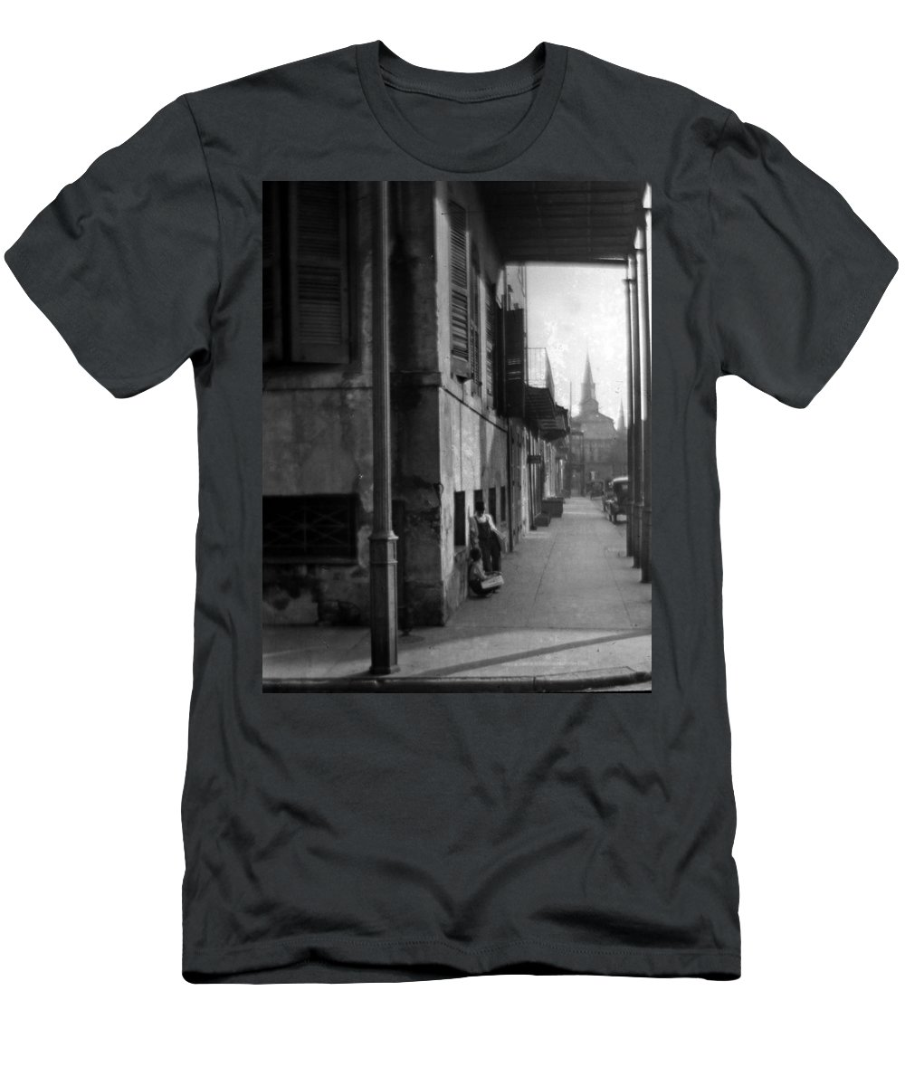 St Louis Cathedral Men's T-Shirt (Athletic Fit) featuring the photograph Paperboys by Crescent City Collective