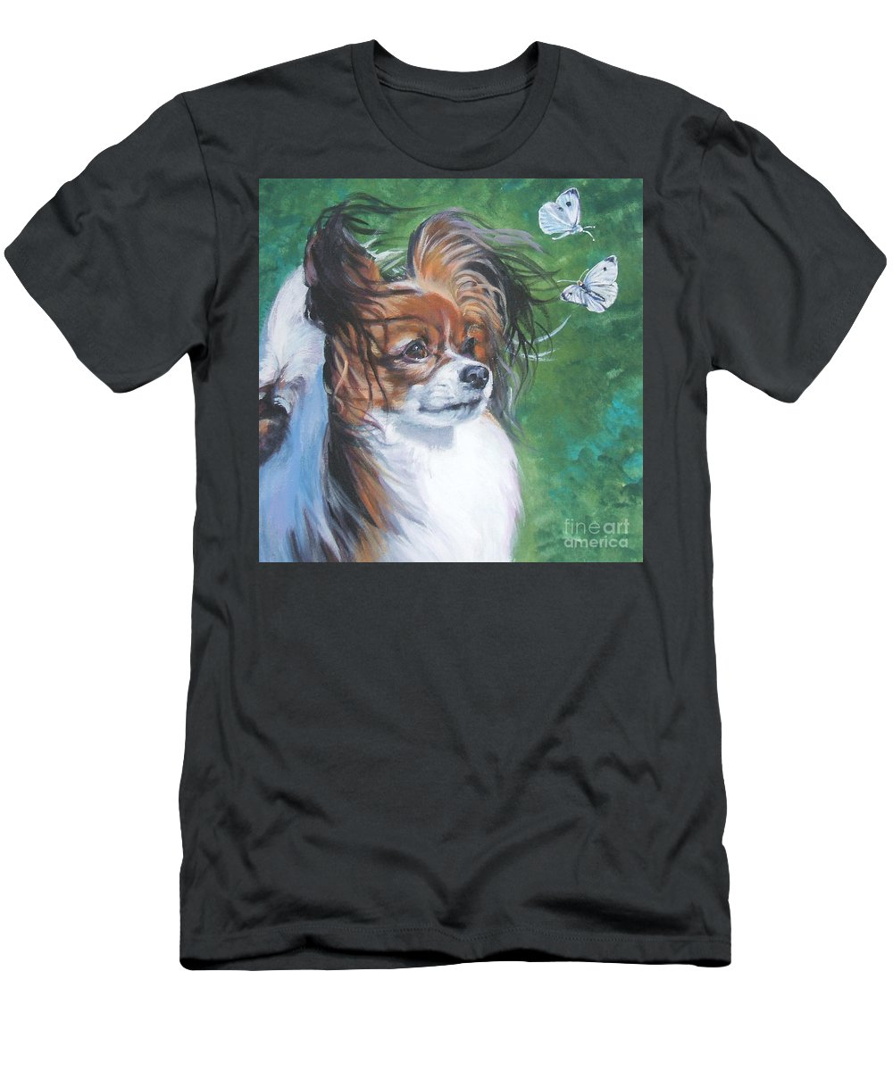Dog Men's T-Shirt (Athletic Fit) featuring the painting Papillon And Butterflies by Lee Ann Shepard