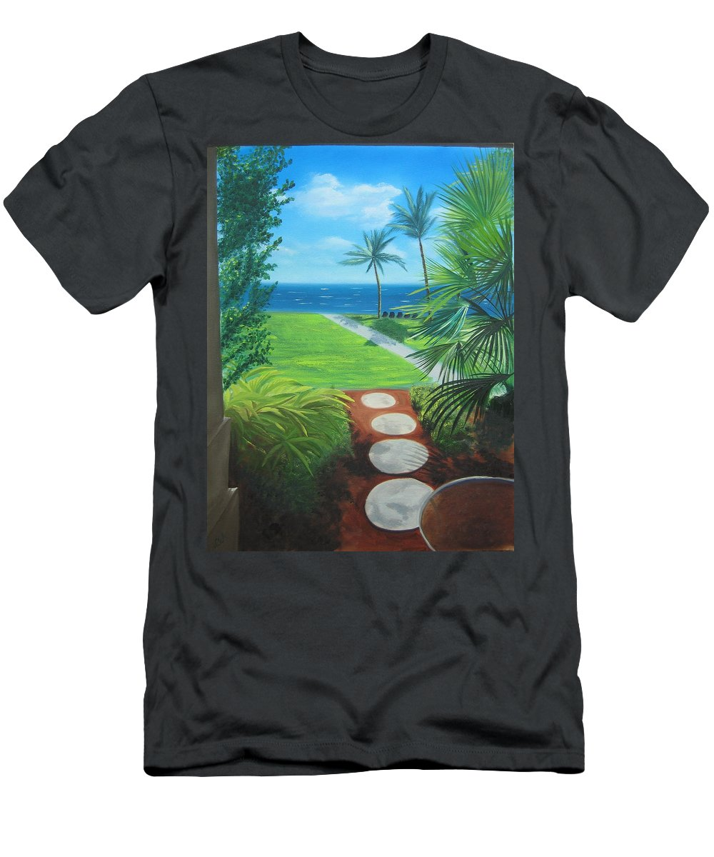 Seascape Men's T-Shirt (Athletic Fit) featuring the painting Paradise Beckons by Lea Novak