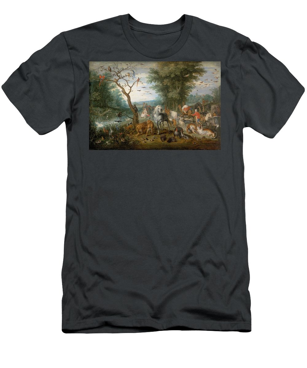 1613 Men's T-Shirt (Athletic Fit) featuring the painting Paradise Landscape With Animals by Jan Brueghel the Elder