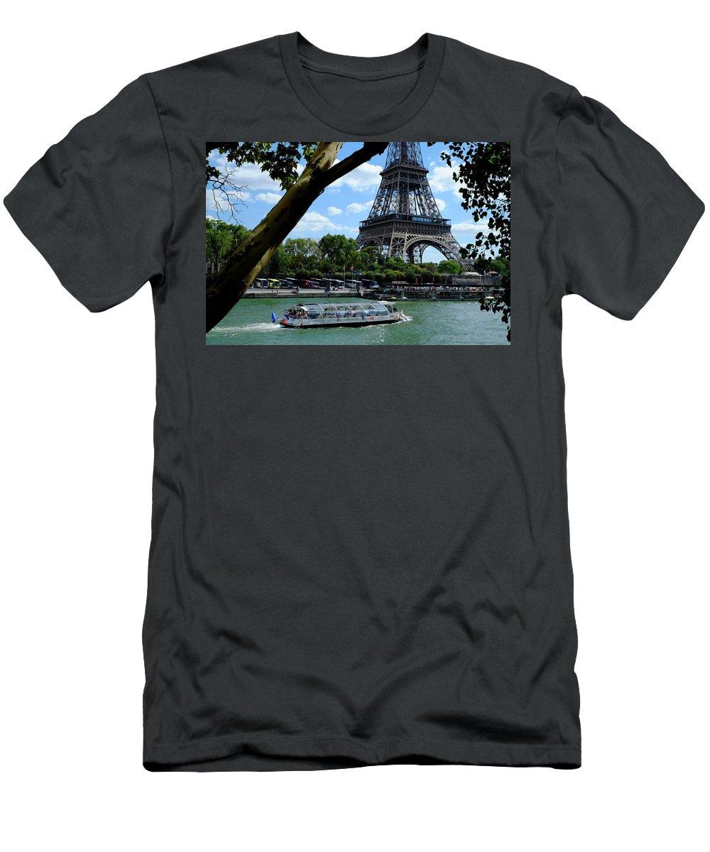 Paris Eiffel Boat Men's T-Shirt (Athletic Fit) featuring the photograph Paris Eiffel Boat by August Timmermans