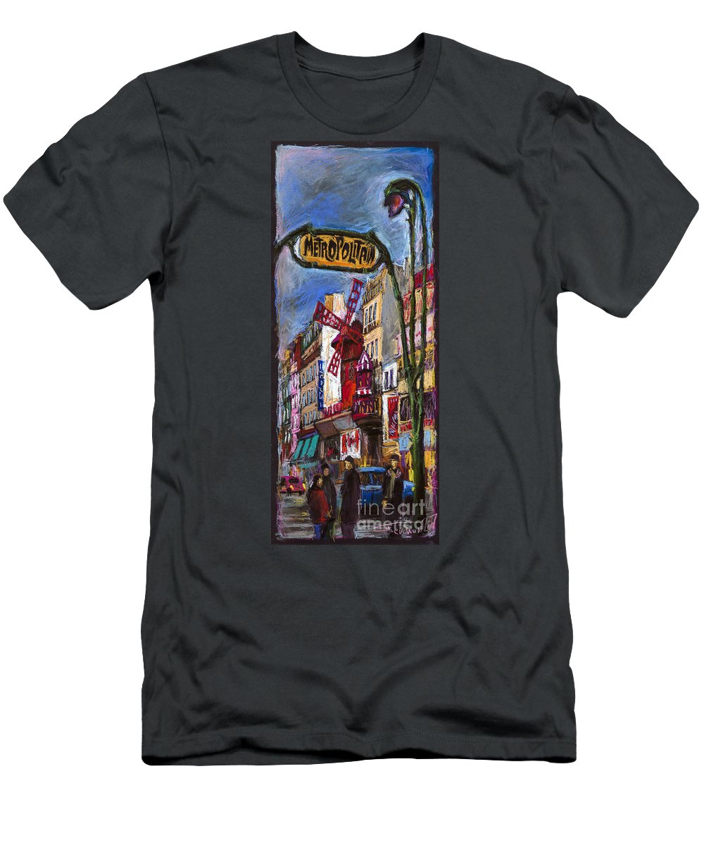 Cityscape Men's T-Shirt (Athletic Fit) featuring the painting Paris Mulen Rouge by Yuriy Shevchuk