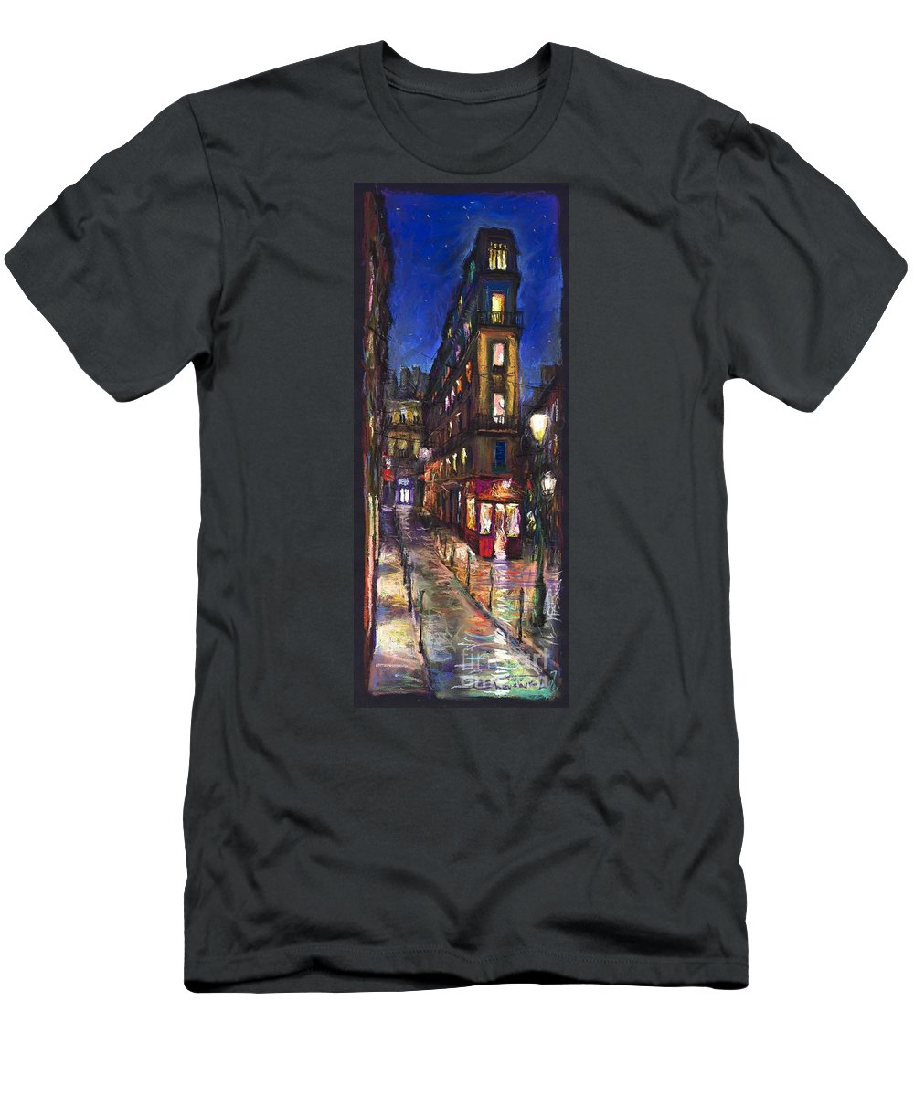 Landscape Men's T-Shirt (Athletic Fit) featuring the painting Paris Old Street by Yuriy Shevchuk