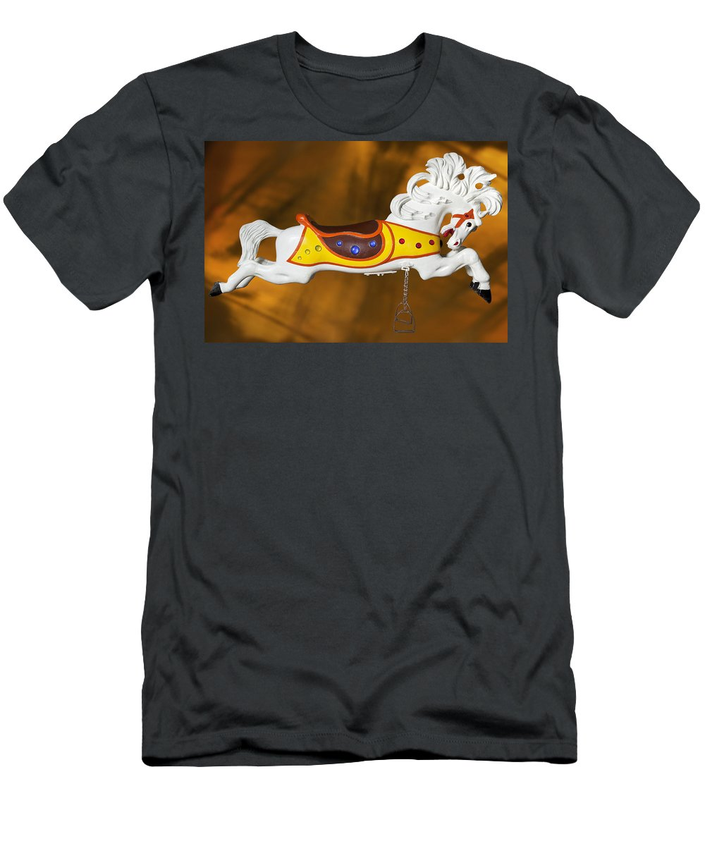 Carousel Horse Men's T-Shirt (Athletic Fit) featuring the photograph Parker Flying Carousel Horse 1 by Kelley King