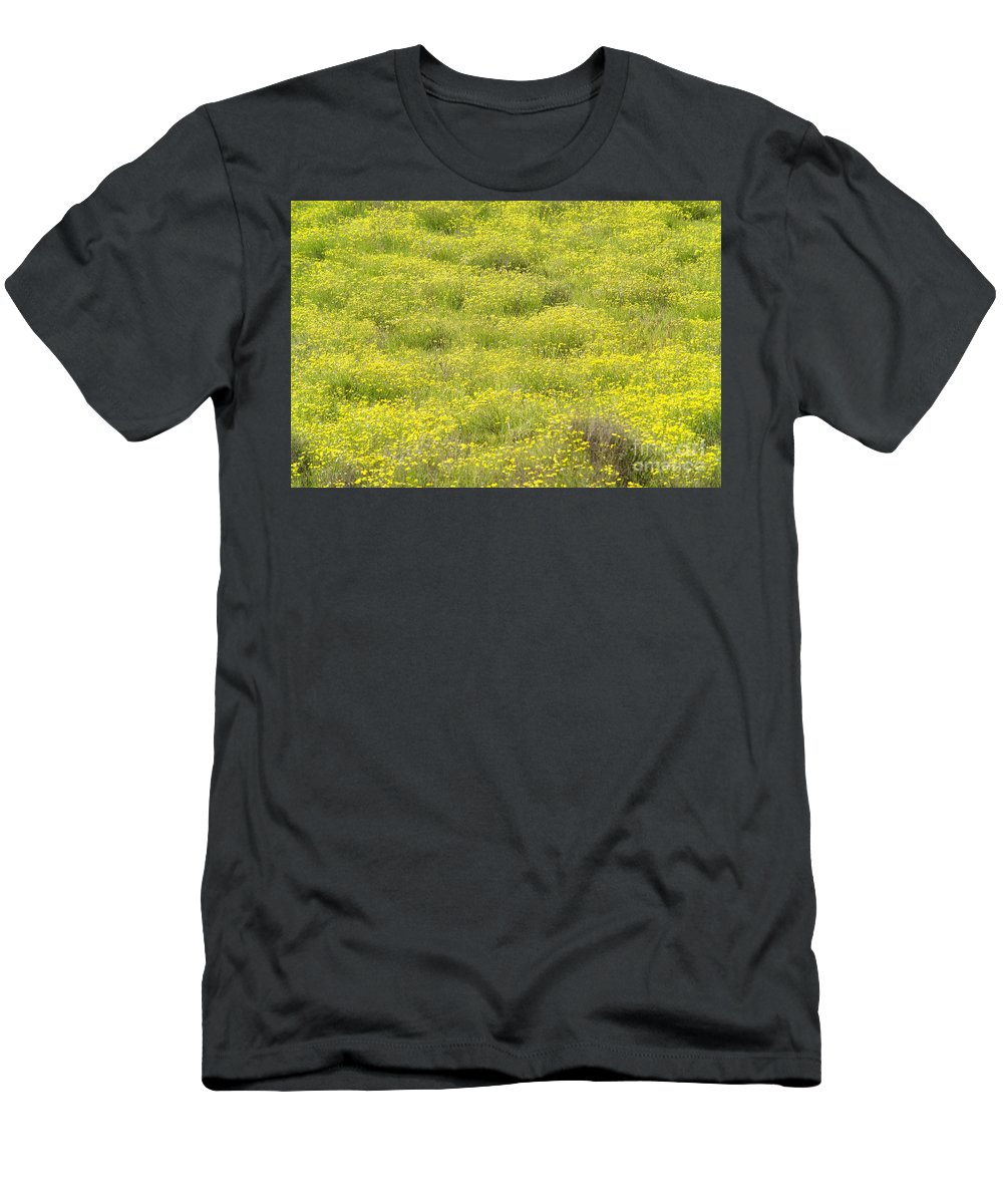 Abstract Men's T-Shirt (Athletic Fit) featuring the photograph Parker Ranch Field Of Yellow by Carl Shaneff - Printscapes