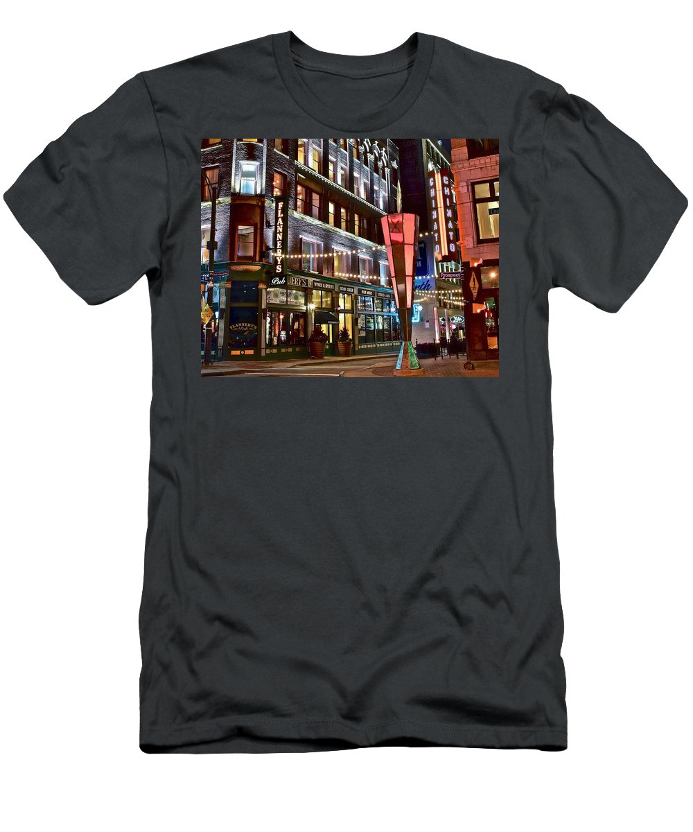Cleveland Men's T-Shirt (Athletic Fit) featuring the photograph Party In Cleveland by Frozen in Time Fine Art Photography