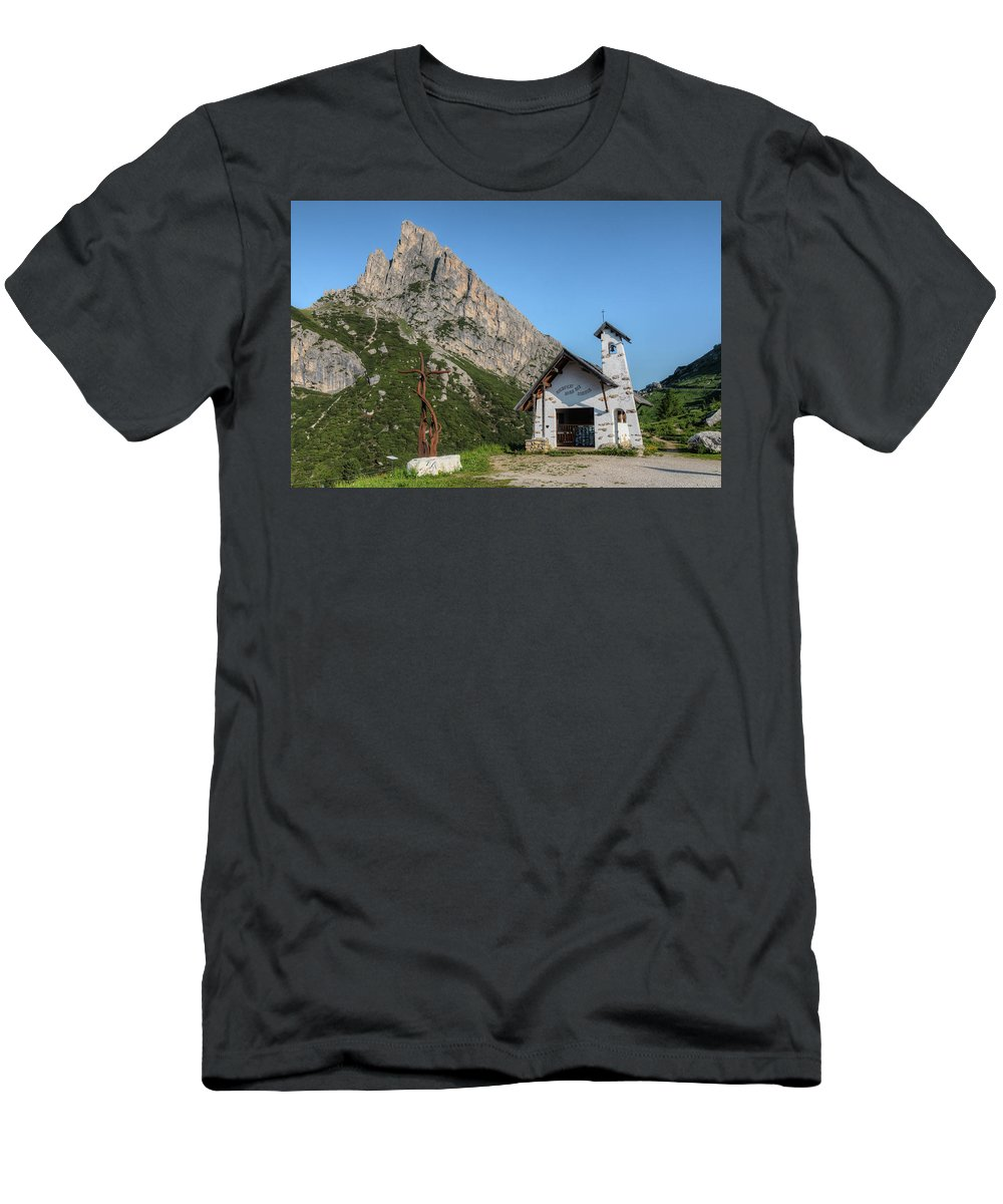 Hexenstein Men's T-Shirt (Athletic Fit) featuring the photograph Passo Di Falzarego - Dolomites by Joana Kruse