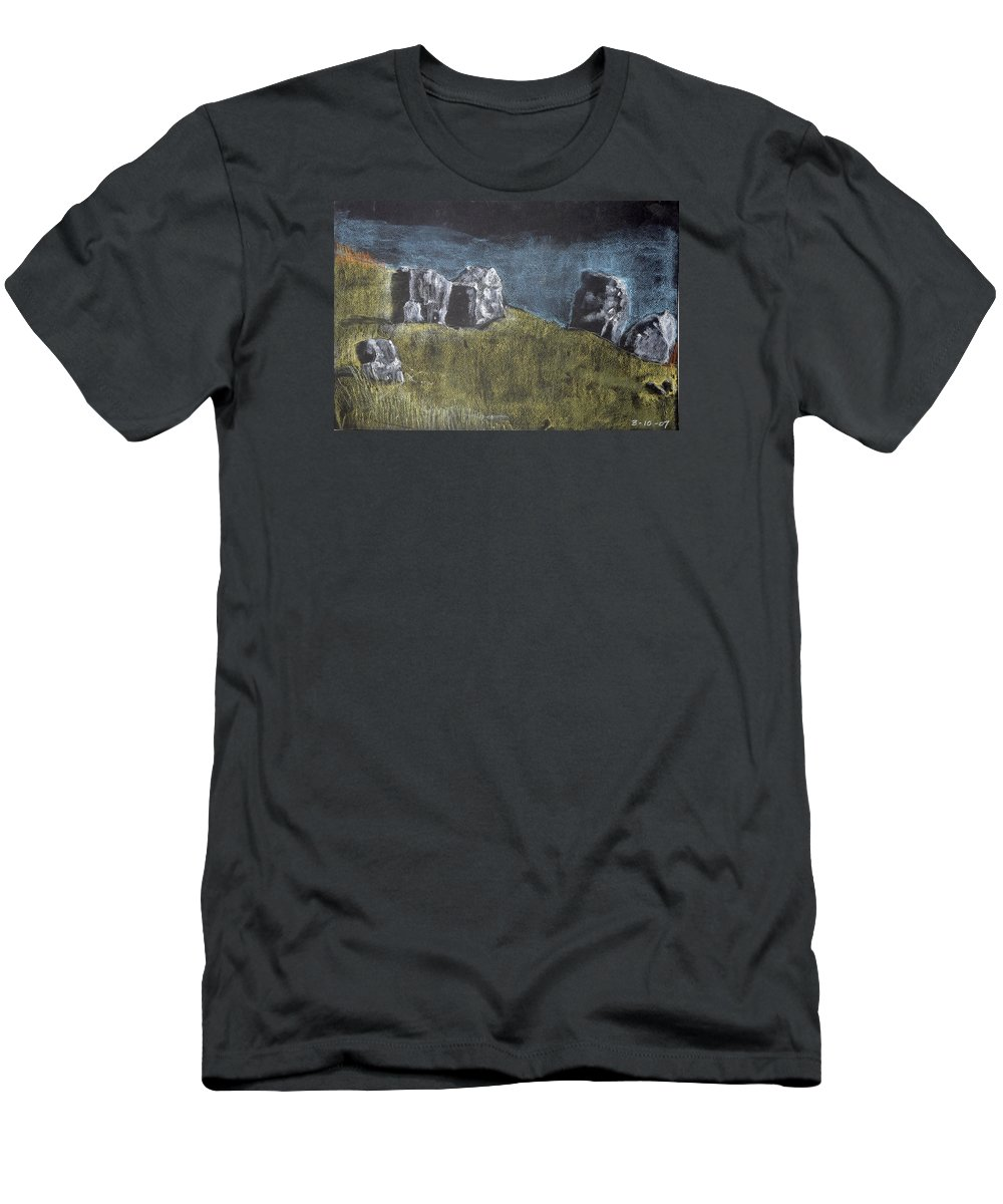 T-Shirt featuring the painting Pastel Stones On Black by Kathleen Barnes