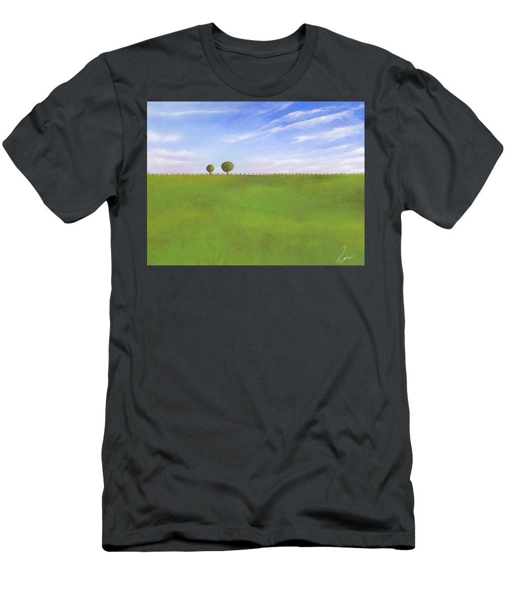 Nebraska Men's T-Shirt (Athletic Fit) featuring the painting Pasture Land by Cindy D Chinn