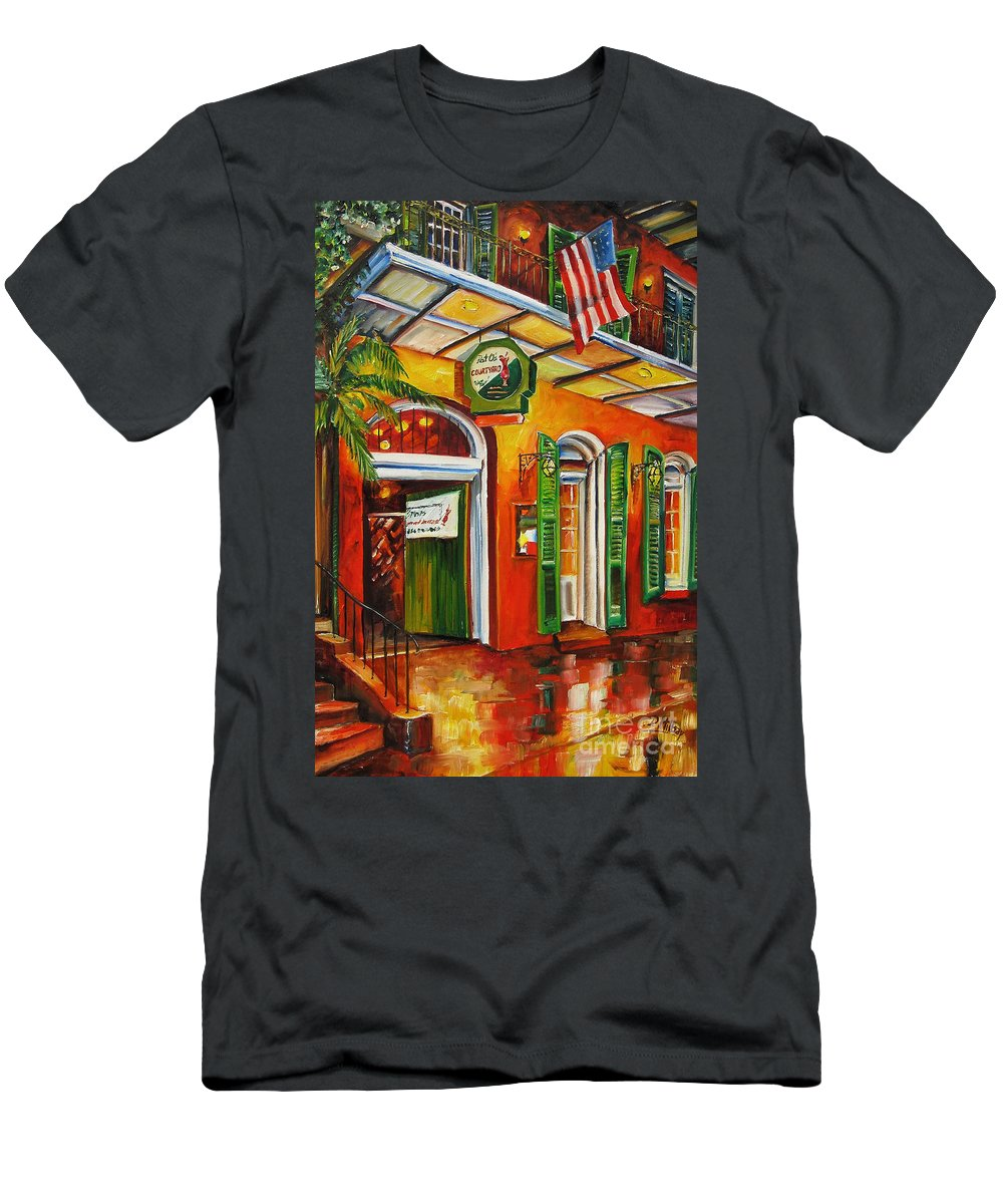 New Orleans Men's T-Shirt (Athletic Fit) featuring the painting Pat O'brien's Bar On Bourbon Street by Diane Millsap