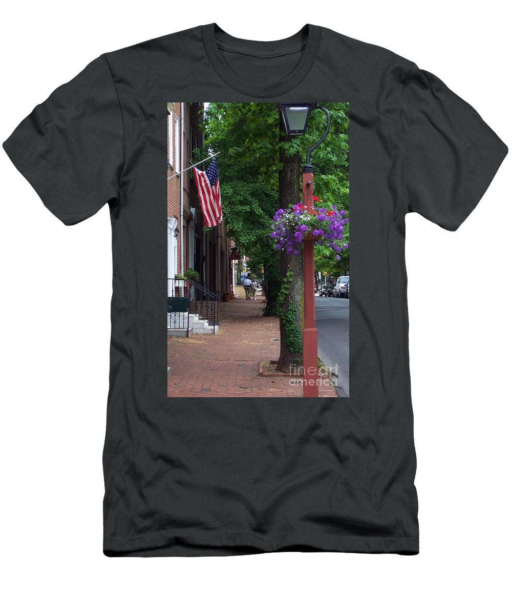 Cityscape Men's T-Shirt (Athletic Fit) featuring the photograph Patriotic Street In Philadelphia by Debbi Granruth