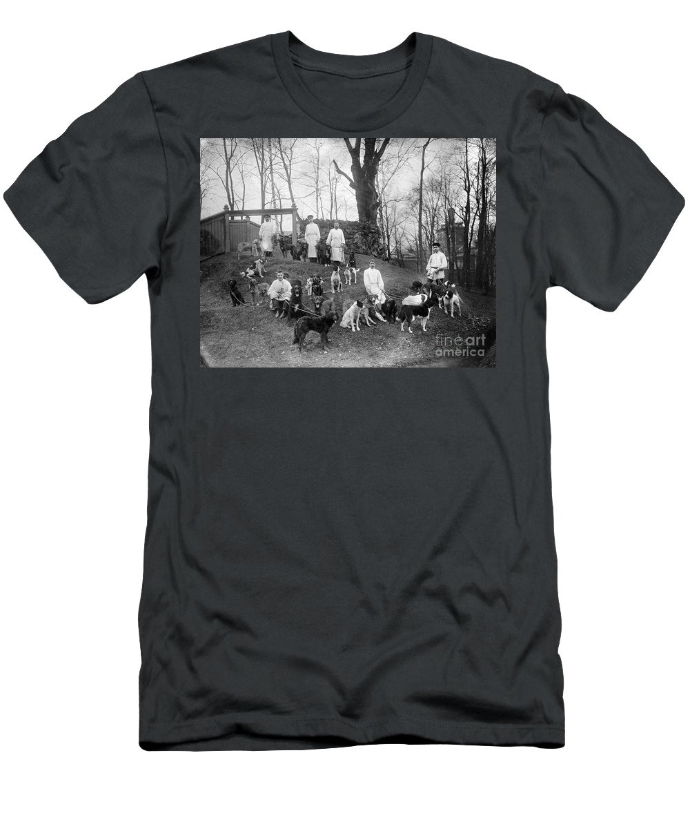 History Men's T-Shirt (Athletic Fit) featuring the photograph Pavlovs Dogs With Their Keepers, 1904 by Wellcome Images