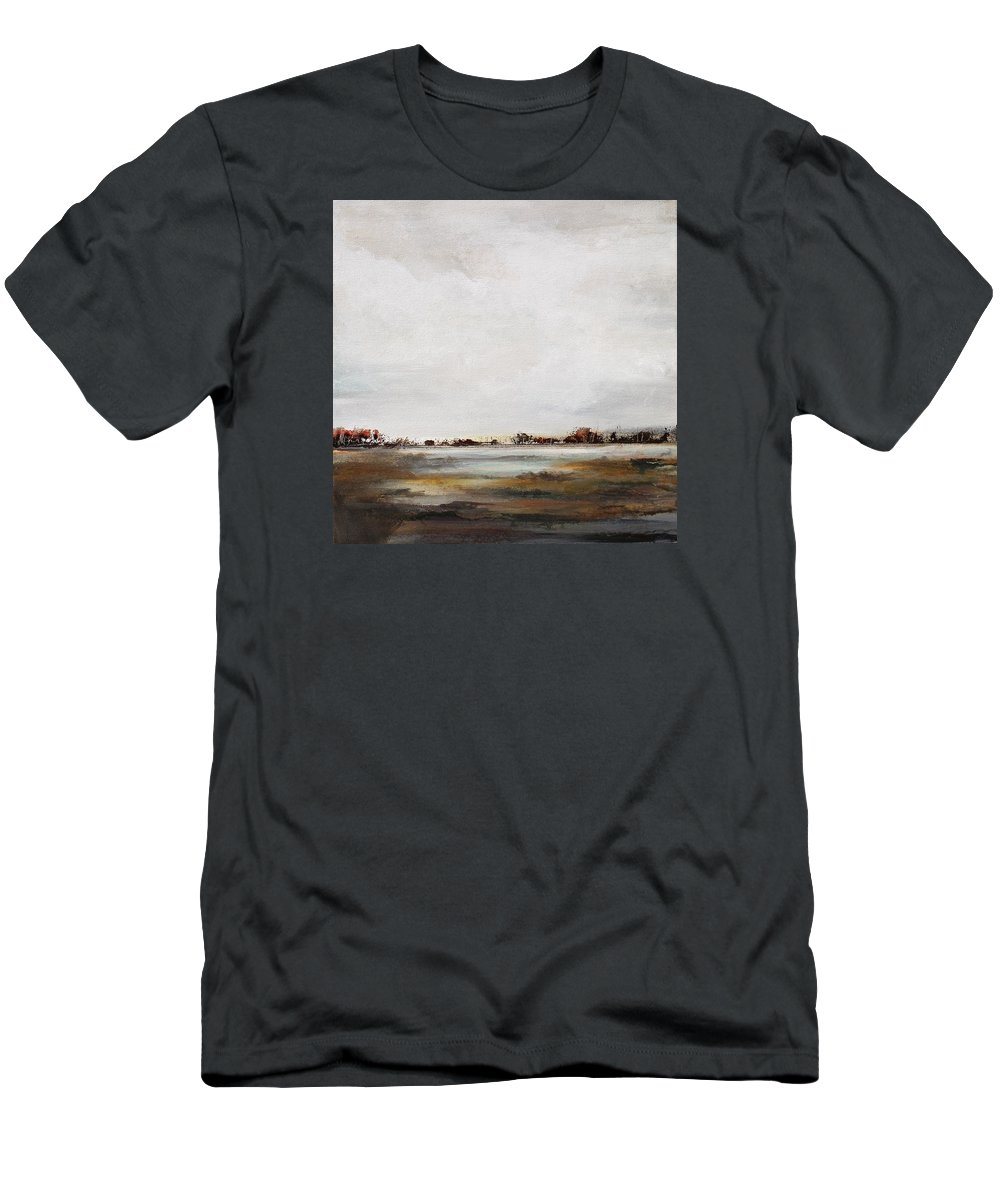 Abstract Landscape Men's T-Shirt (Athletic Fit) featuring the painting Peace And Quiet by Karen Hale