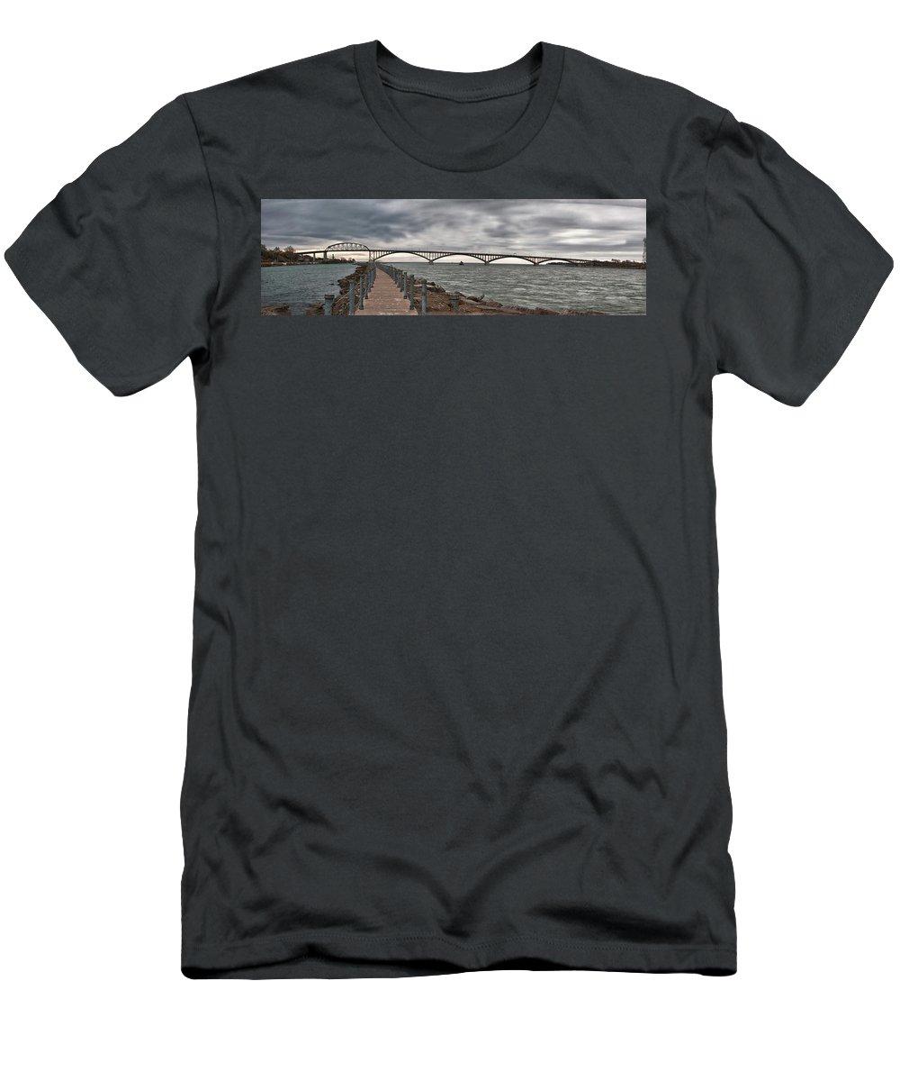 Bridge Men's T-Shirt (Athletic Fit) featuring the photograph Peace Bridge by Guy Whiteley