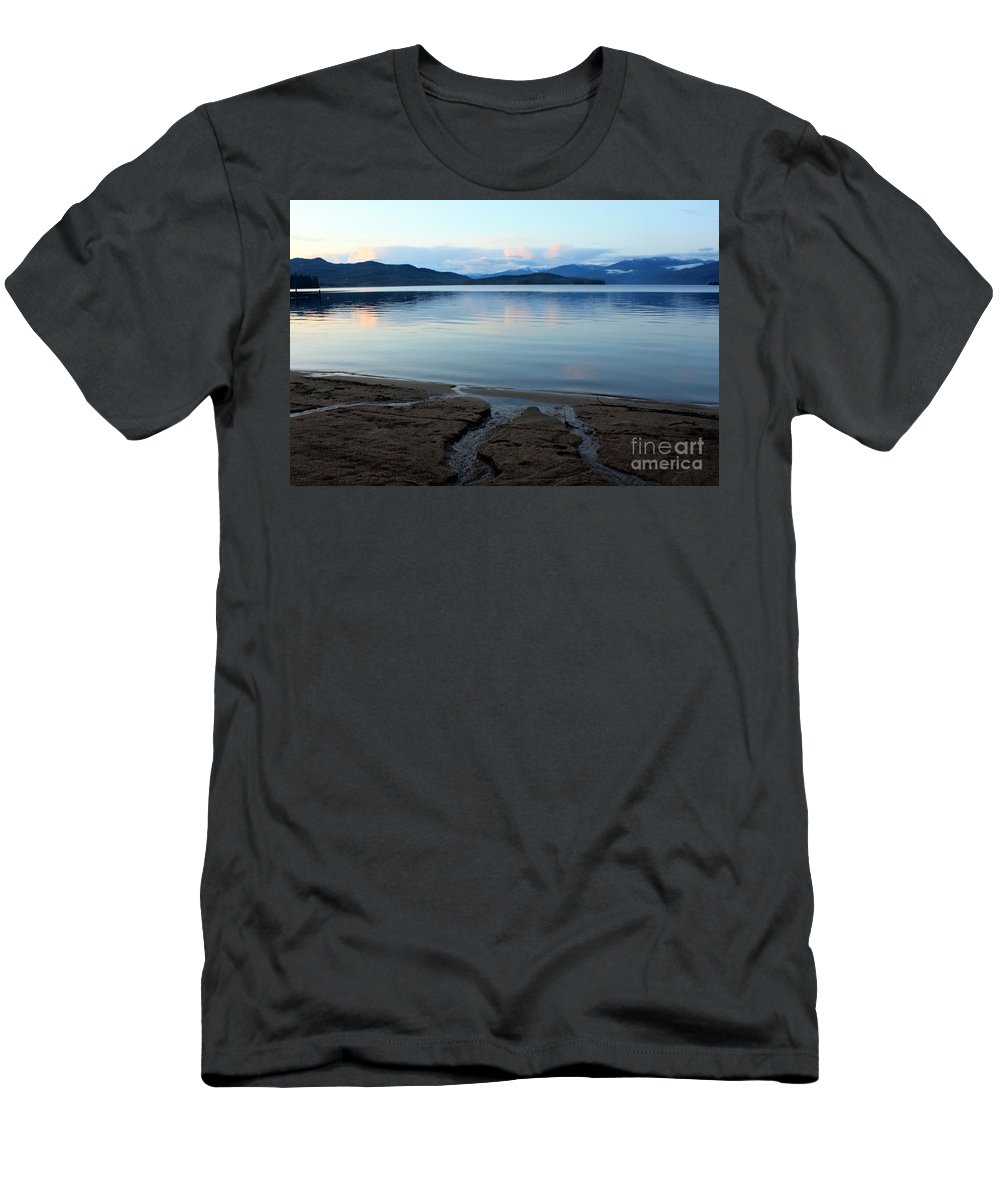 Beach Men's T-Shirt (Athletic Fit) featuring the photograph Peaceful Priest Lake by Carol Groenen