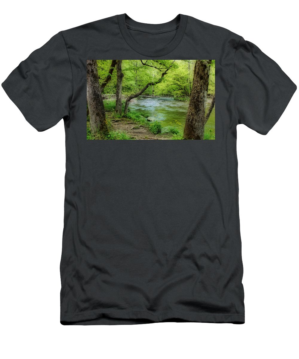 River Men's T-Shirt (Athletic Fit) featuring the photograph Peaceful Scene by Sandy Keeton