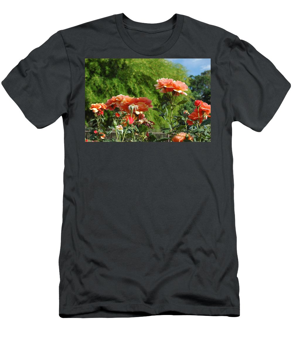 Peach Men's T-Shirt (Athletic Fit) featuring the photograph Peach Colored Beauties by Teresa Stallings