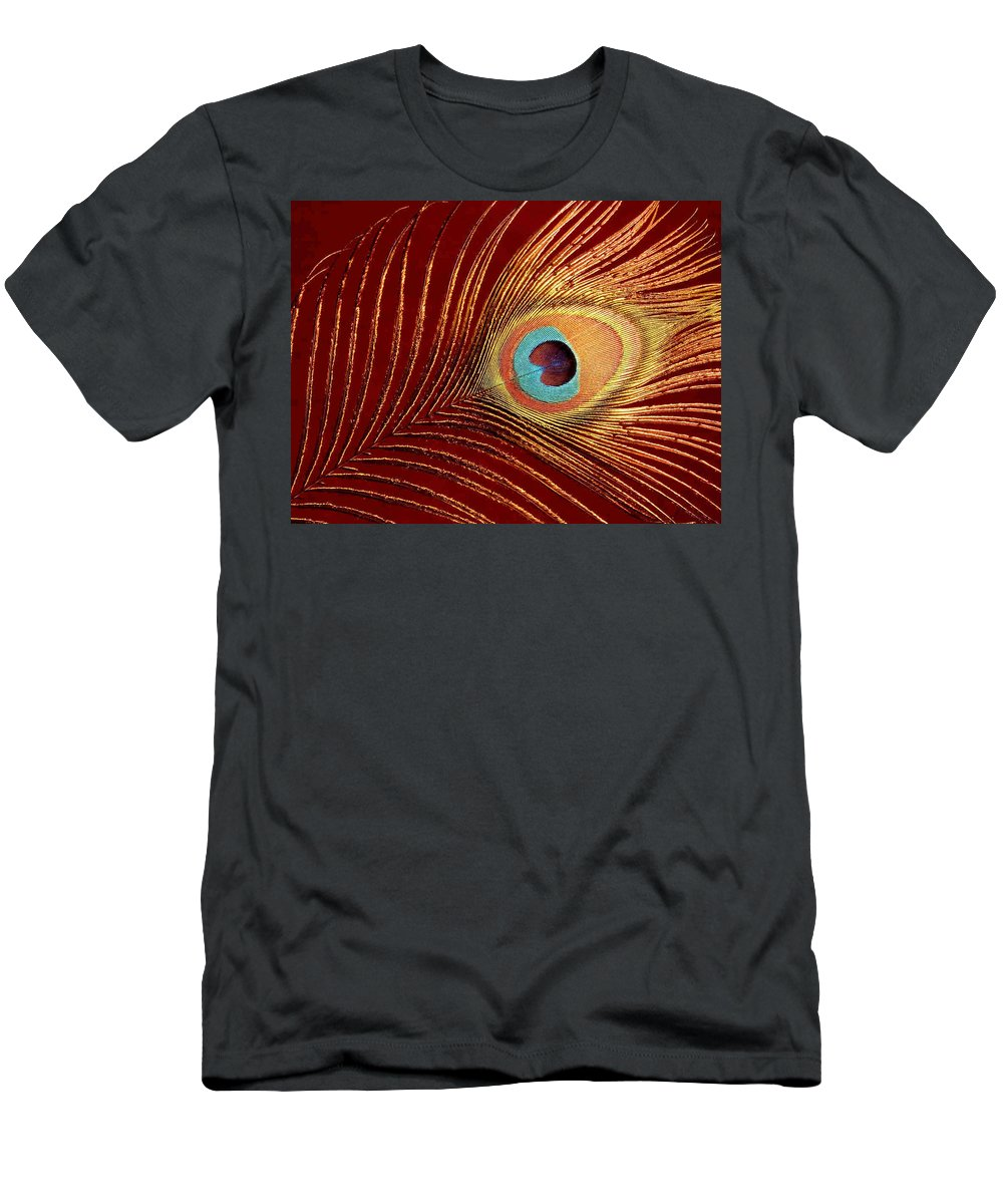 Peacock Feather Men's T-Shirt (Athletic Fit) featuring the photograph Peacock Feather by Dragica Micki Fortuna