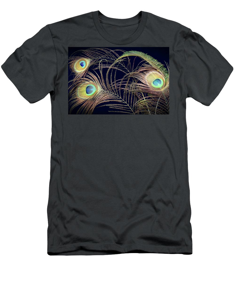 Peacock Men's T-Shirt (Athletic Fit) featuring the photograph Peacock Feathers -1 by Rudy Umans
