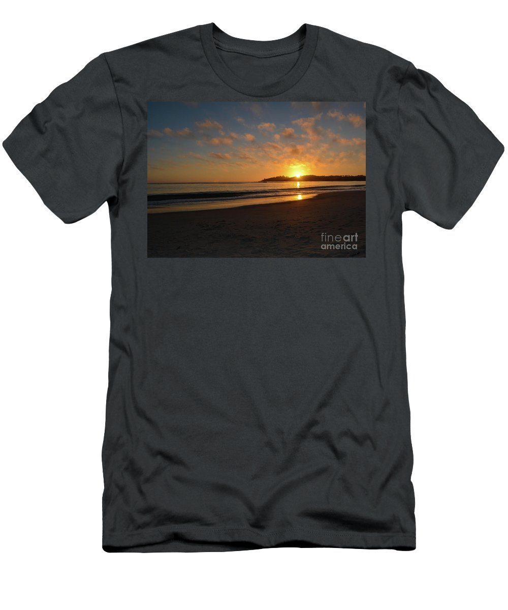 Pebble Beach Men's T-Shirt (Athletic Fit) featuring the photograph Pebble Beach Sunset by Brian Stauffer