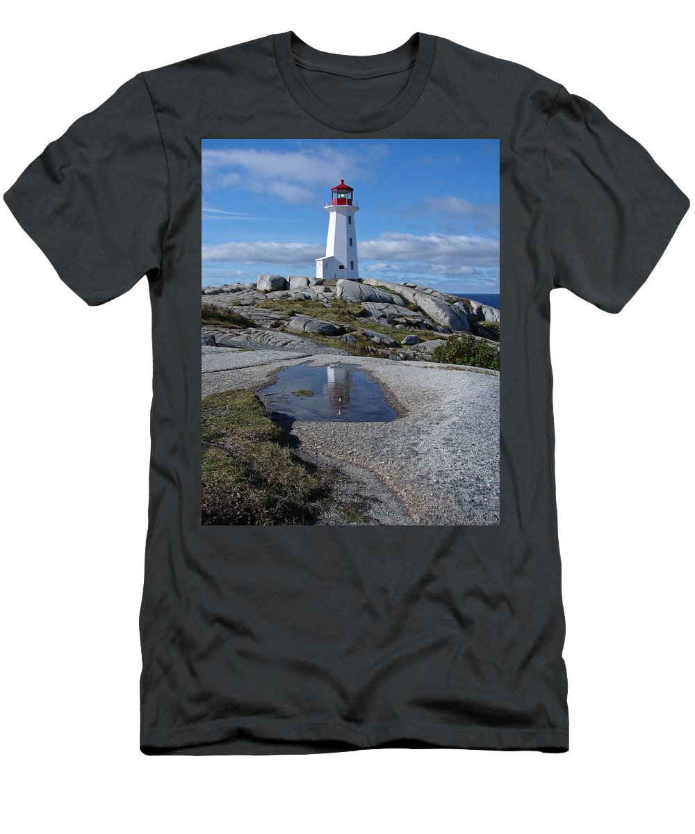 Seascape Men's T-Shirt (Athletic Fit) featuring the photograph Peggys Cove Nova Scotia Canada by Heather Coen