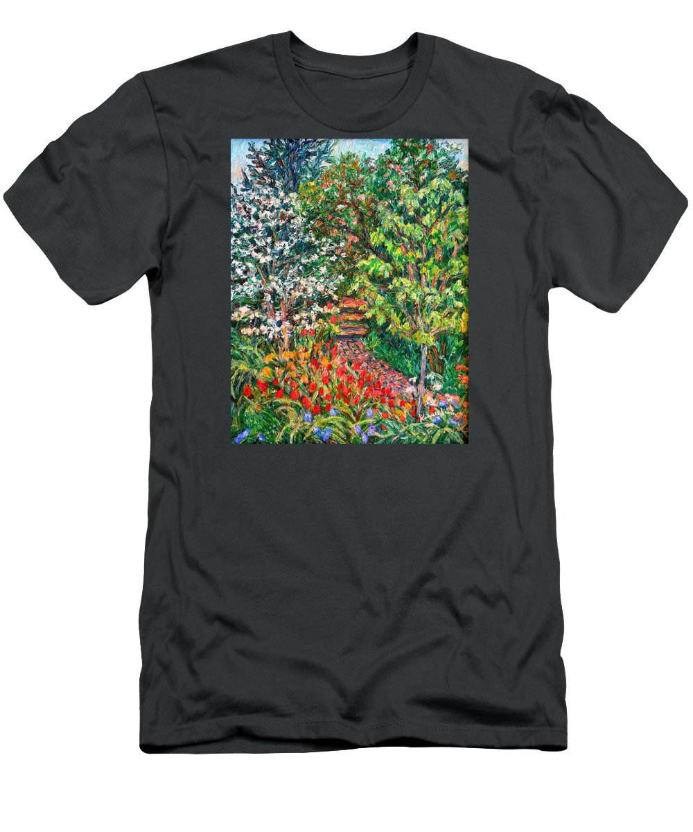 Garden Men's T-Shirt (Athletic Fit) featuring the painting Peggys Garden by Kendall Kessler