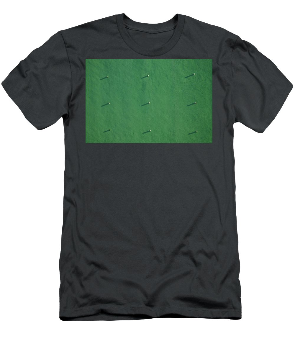 Green Men's T-Shirt (Athletic Fit) featuring the photograph Pegs Cast Their Shadows by Tom Nix