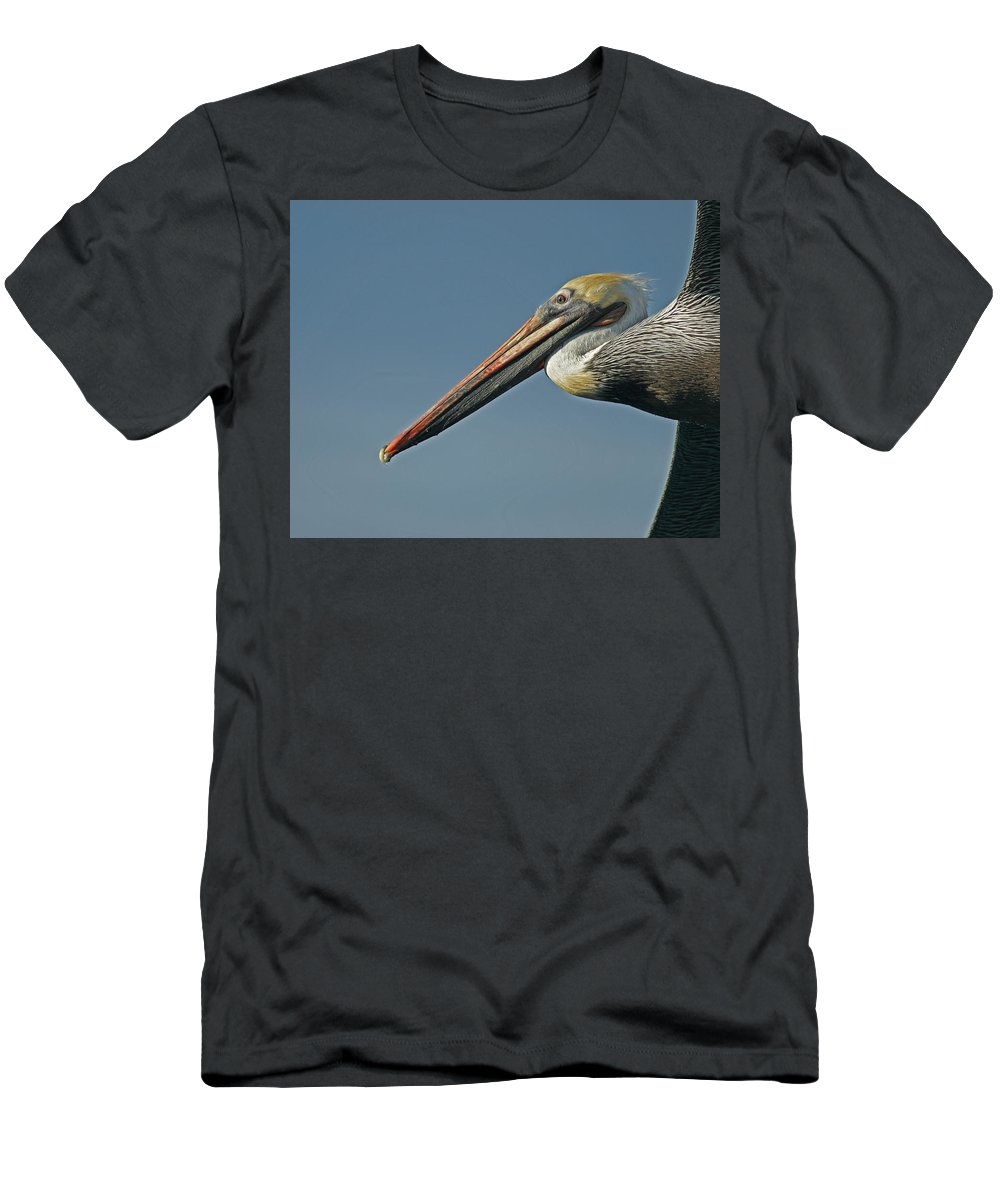 Animals Men's T-Shirt (Athletic Fit) featuring the photograph Pelican Upclose by Ernie Echols