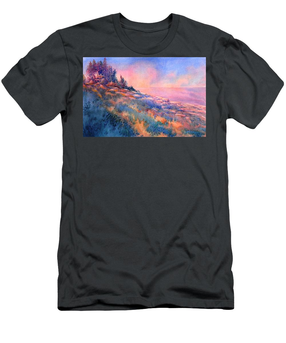 Landscape T-Shirt featuring the painting Pemaquid Rocks by Virgil Carter
