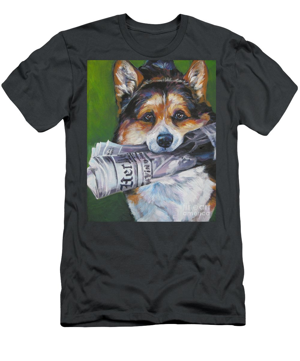 Dog Men's T-Shirt (Athletic Fit) featuring the painting Pembroke Welsh Corgi Fetching by Lee Ann Shepard