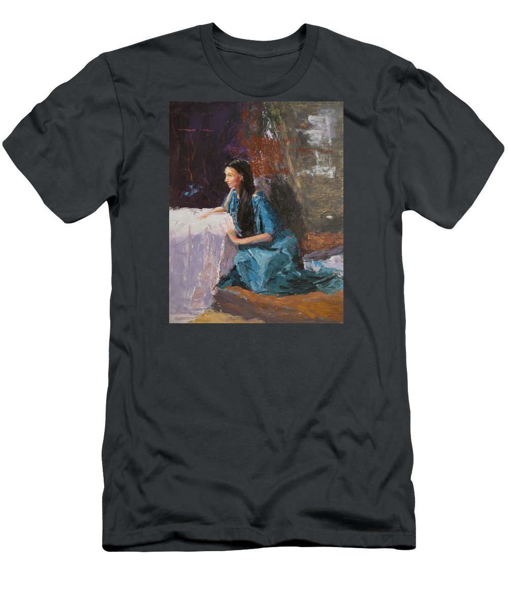 Sitting Woman Men's T-Shirt (Athletic Fit) featuring the painting Penelope by Irena Jablonski