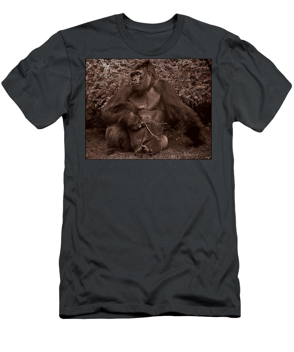 Gorilla Men's T-Shirt (Athletic Fit) featuring the photograph Pensive by Chris Lord