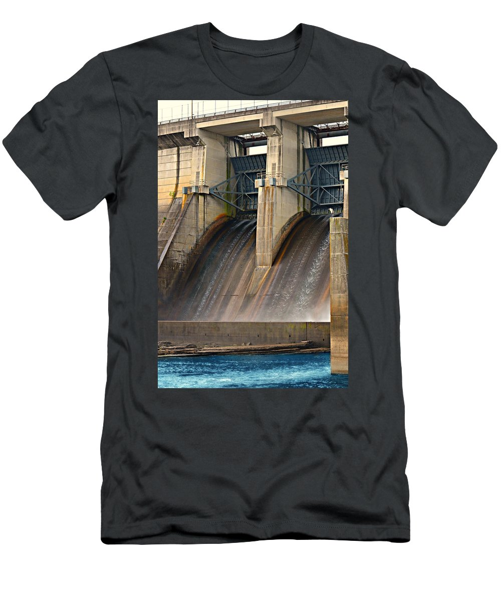 Percy Priest Dam Men's T-Shirt (Athletic Fit) featuring the painting Percy Priest Dam by Ally White