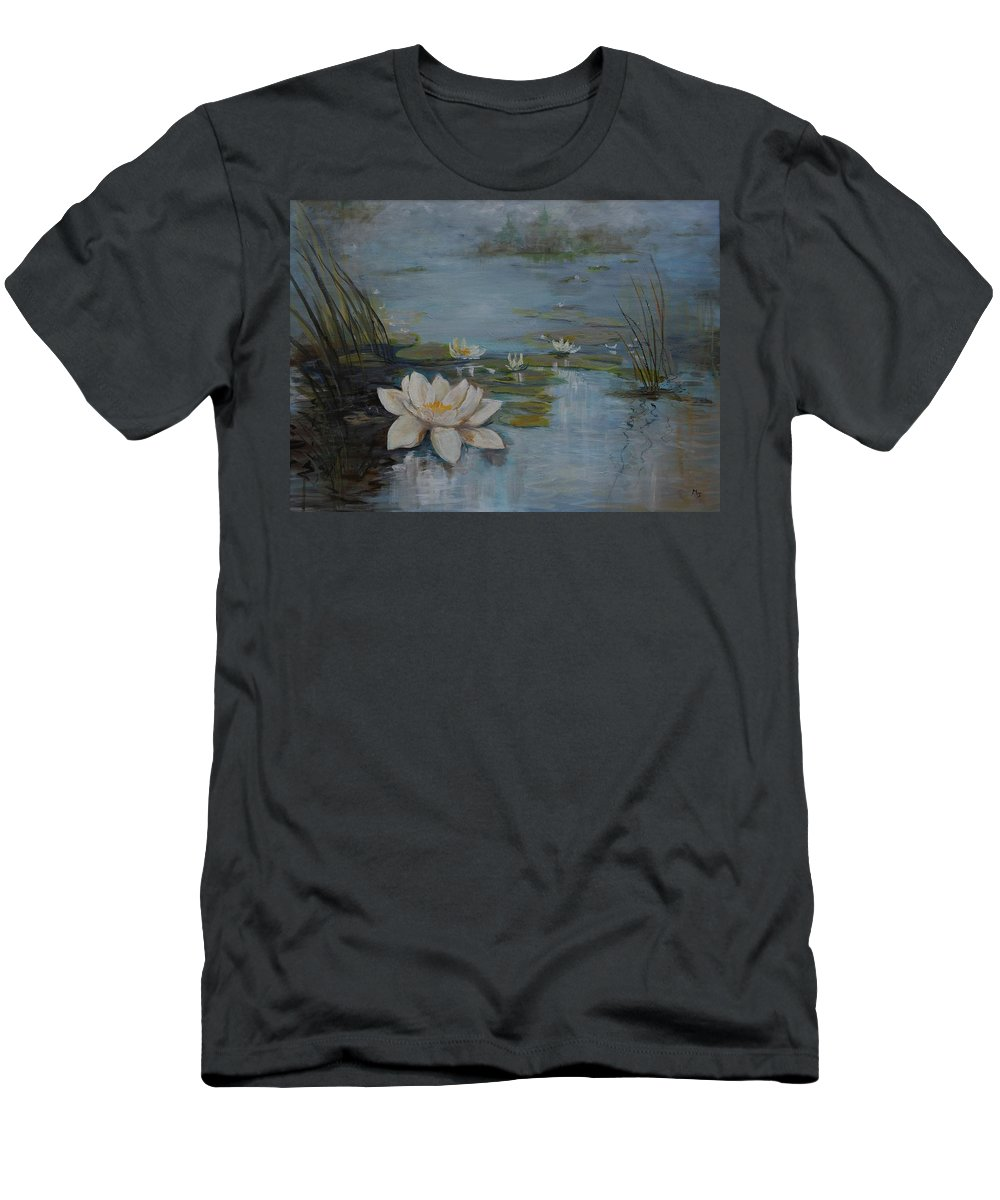 Water Lily Men's T-Shirt (Athletic Fit) featuring the painting Perfect Lotus - Lmj by Ruth Kamenev