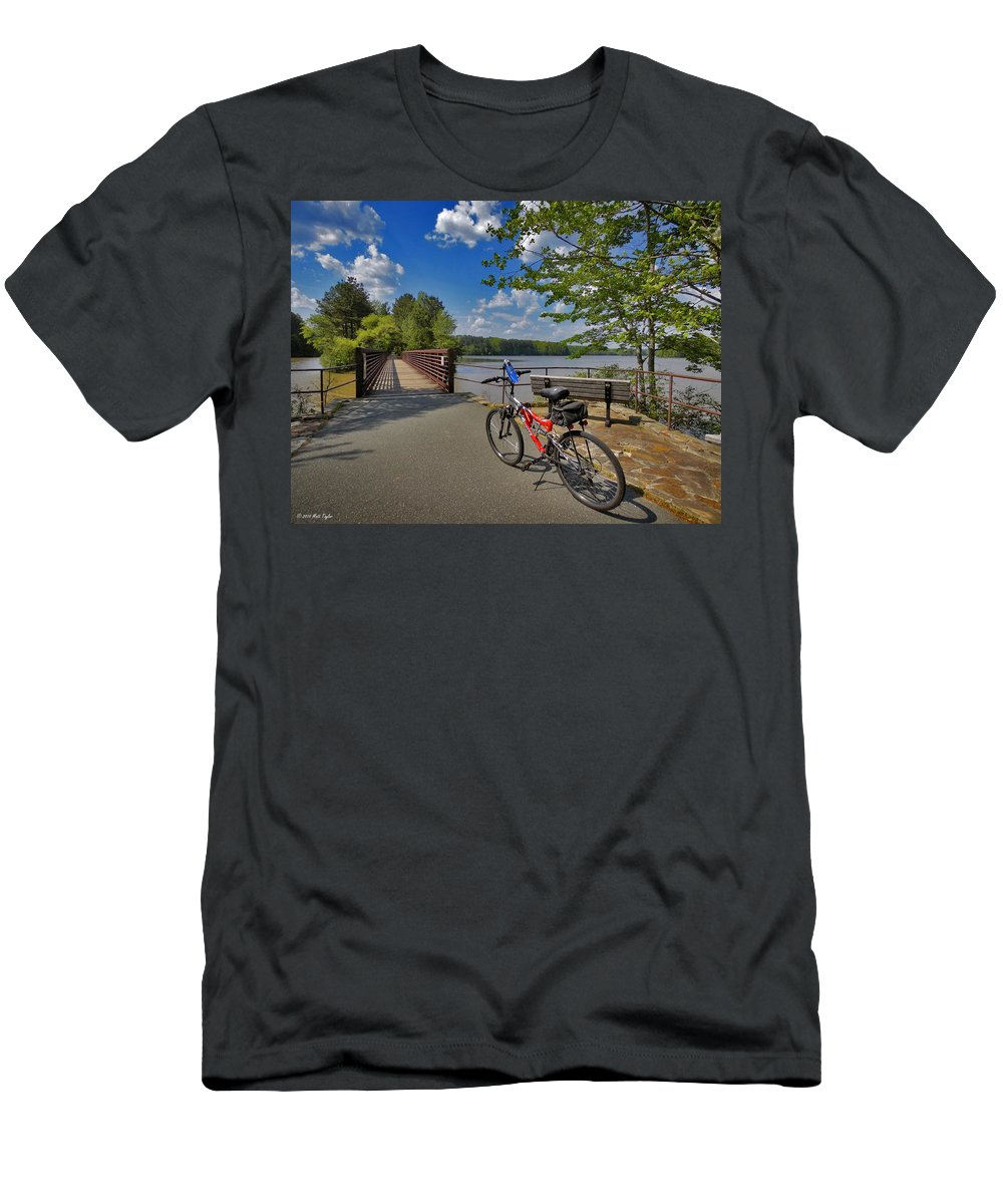 Nature Men's T-Shirt (Athletic Fit) featuring the photograph Perfect Weather For Cycling At Lake Brandt by Matt Taylor