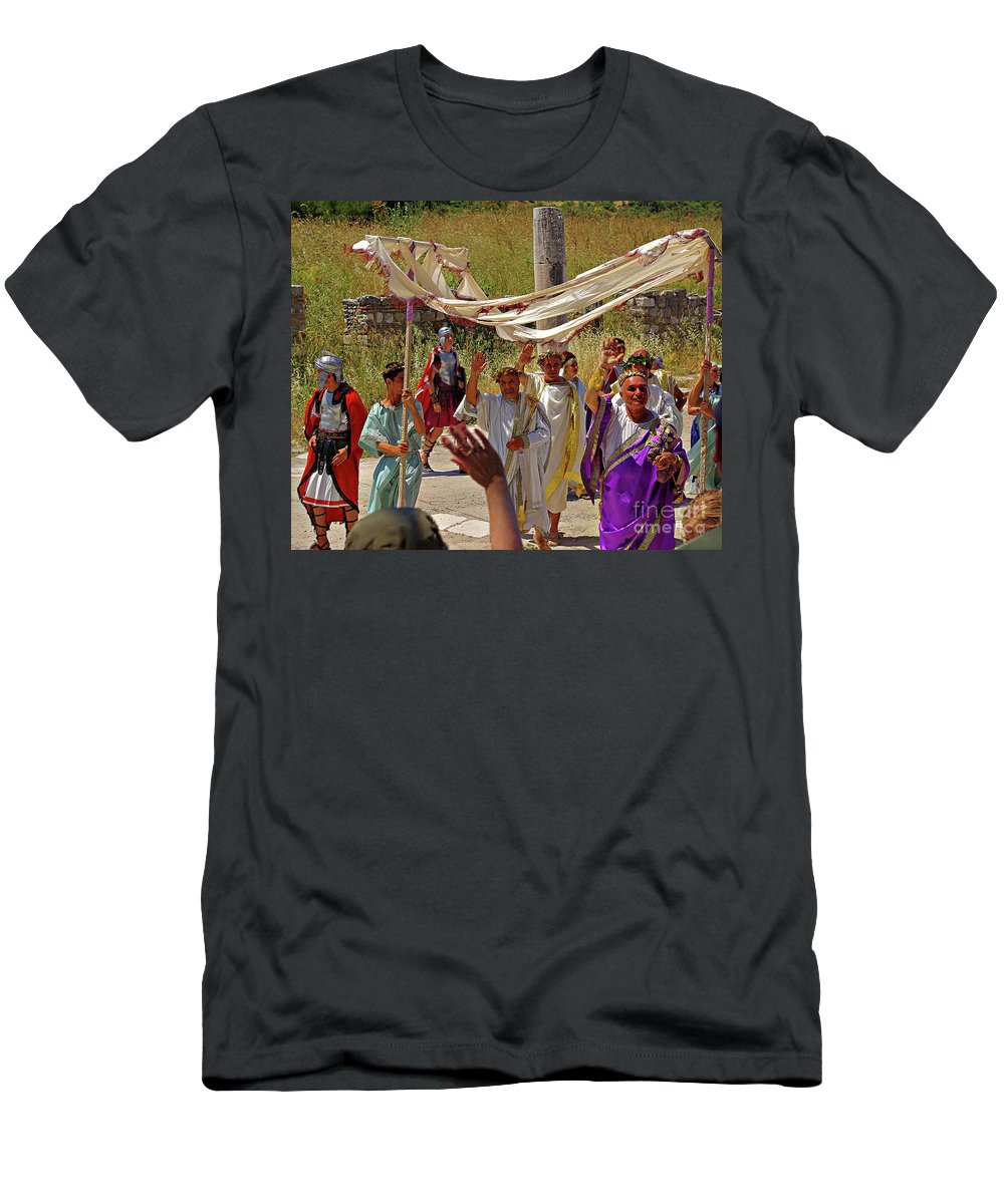 Turkey Men's T-Shirt (Athletic Fit) featuring the photograph Period Performers At Ephesis Turkey by Rich Walter