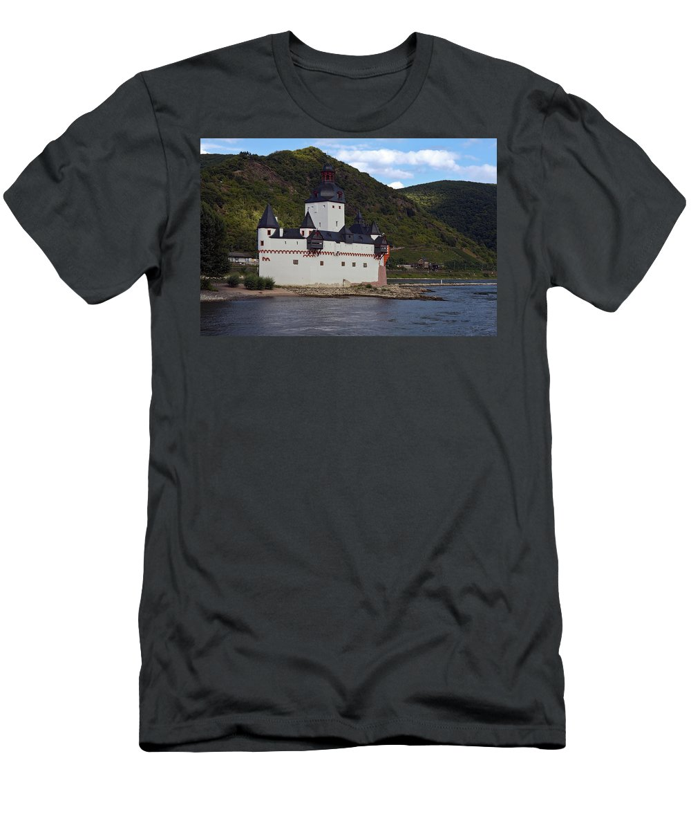 Pfalz Castle Men's T-Shirt (Athletic Fit) featuring the photograph Pfalz Castle by Sally Weigand