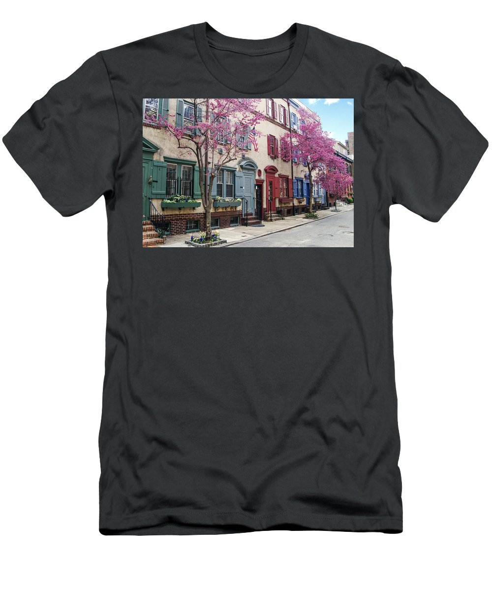 Philadelphia Men's T-Shirt (Athletic Fit) featuring the photograph Philadelphia Blossoming In The Spring by Bill Cannon