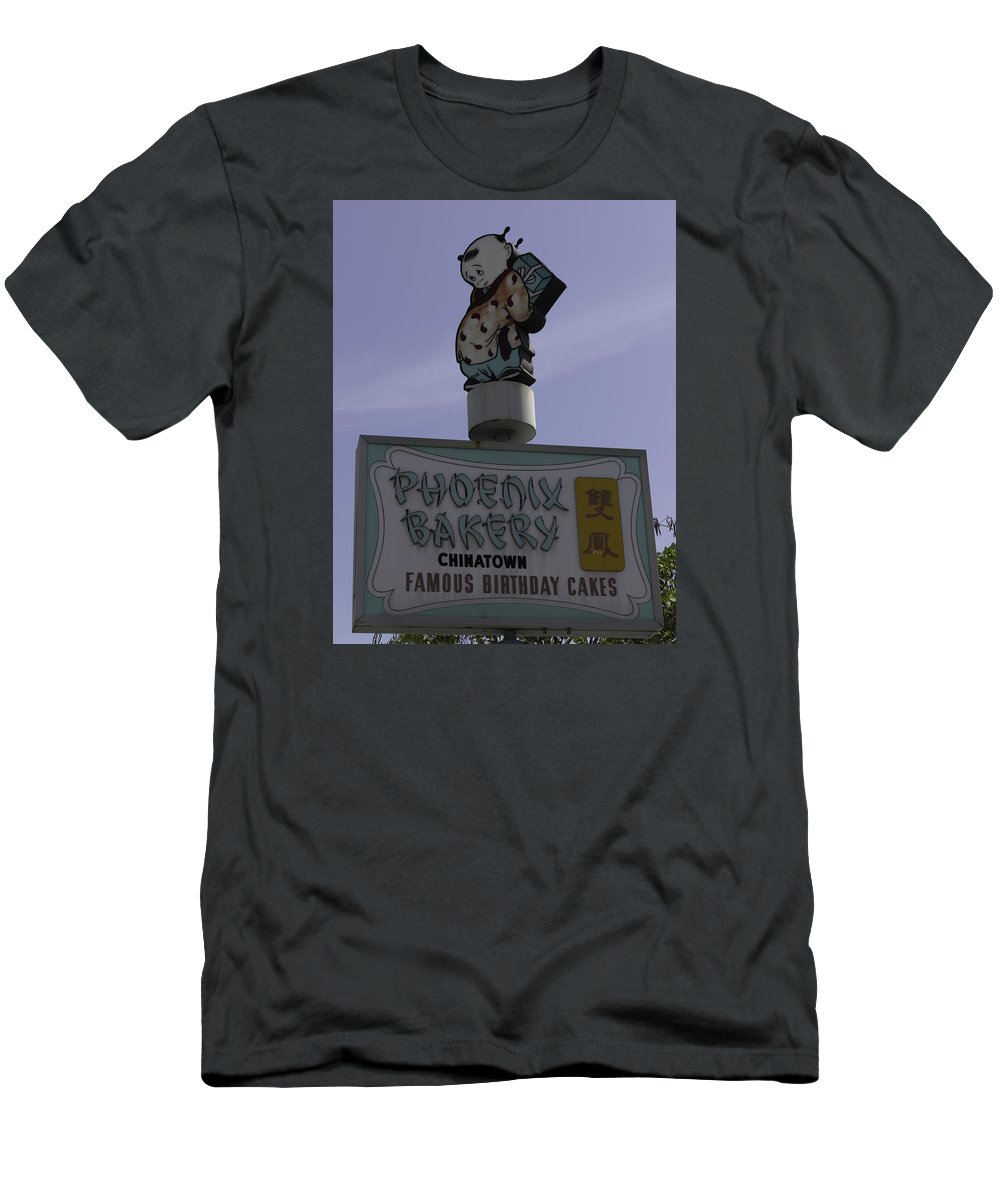 Cteresa A Mucha Men's T-Shirt (Athletic Fit) featuring the photograph Phoenix Bakery Sign Chinatown by Teresa Mucha