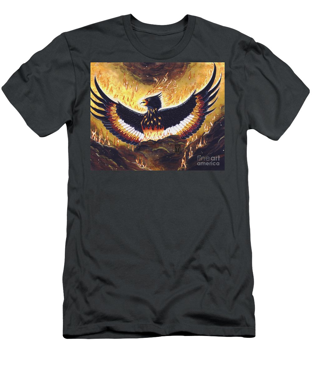Phoenix Men's T-Shirt (Athletic Fit) featuring the painting Phoenix Rising by Melissa A Benson